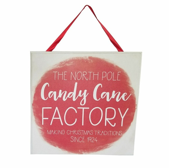 Designs Direct Other - Candy Cane Factory Holiday Wall Sign
